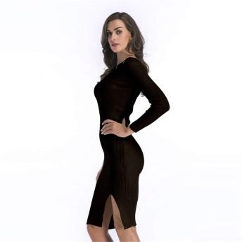 WDSFT 女性のニットワンピースシングルネックカラーサークルヘムスプリットミッド長ヒップスカート (Color : Black, Size : M)