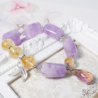 天然紫トパーズの知恵富エネルギーブレスレット