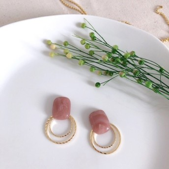 square × double hoop earring (smoky pink)
