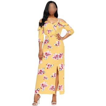 Jtydj 女性のセクシーなVネックコールドショルダー3/4スリーブフローラルドレススプリットドレス (色 : イエロー, サイズ : S)