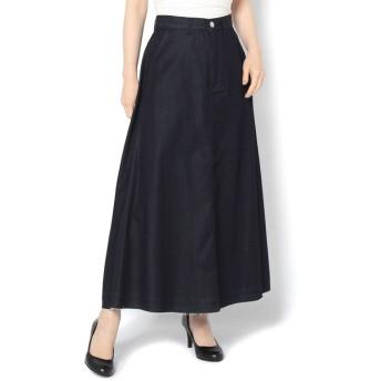 COLONY 2139(コロニー トゥーワンスリーナイン) レディース 綿レーヨンデニム裾カットオフスカート インディゴブルー