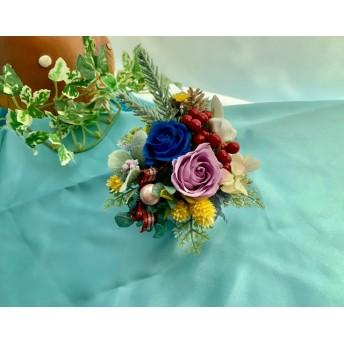4ブリザーブドフラワーうさぎの花束(ローズパープル・インディコブルー)クリアケース付き