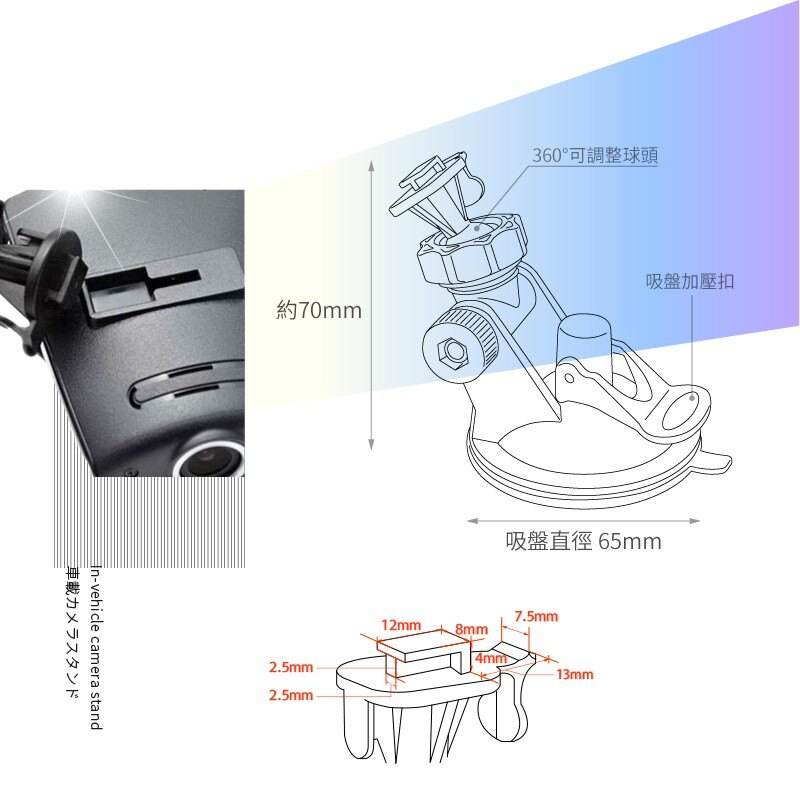 7T05【T型矽膠吸盤架】短軸~適用於 DS1 DS2 TF1 SF2 TF2 M1 M3 M5 M4|BuBu車用品