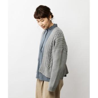 pual ce cin(ピュアルセシン) レディース 【cotton100%】ケーブルガウンカーディガン グレー