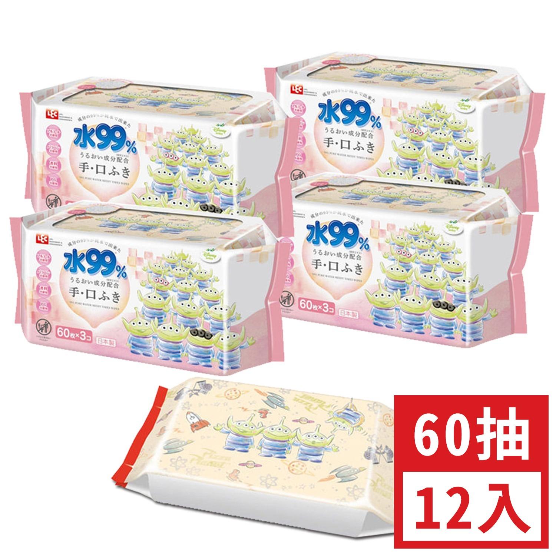日本 LEC - 純水99%口手專用濕紙巾-新款迪士尼-三眼怪-12包入箱購組-60抽x12包入