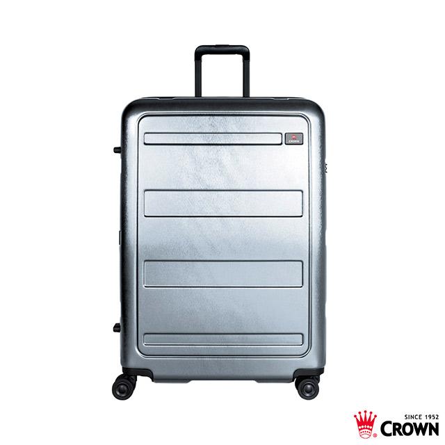 CROWN C-F1783 雙層防盜拉鍊箱 29吋 行李箱 銀灰色