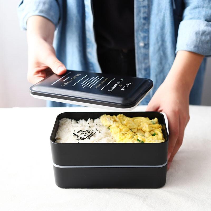 幸福小舖 北歐系列環保便當盒 飯盒 環保便當 餐盒 分隔型 微波爐加熱 分格 日式 餐盒套裝 黑色