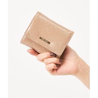 Daily russet(デイリー ラシット) レディース エナメル 三つ折り財布 グレージュ