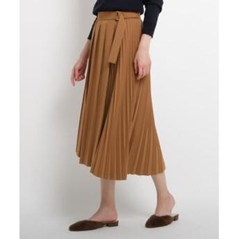 【AG by aquagirl:スカート】【Lサイズあり】イレギュラーヘムプリーツミモレ丈スカート
