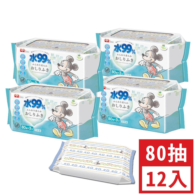日本 LEC - 純水99%一般型擦屁屁濕紙巾-新款迪士尼-米奇米妮-12包入箱購組-80抽x12包入