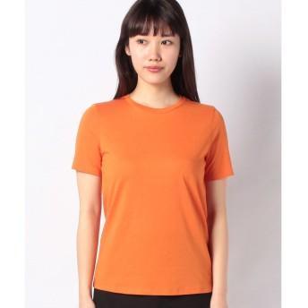 BENETTON (women) クルーネック裾ロゴ刺繍半袖Tシャツ・カットソー(オレンジ)