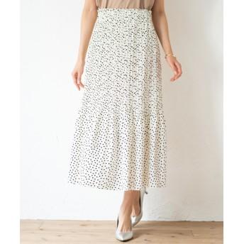 Loungedress(ラウンジドレス) レディース ドットプリーツスカート オフホワイト