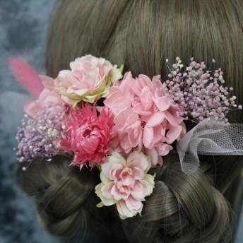 ヘアパーツ ピンク プリザーブドフラワー 髪飾り
