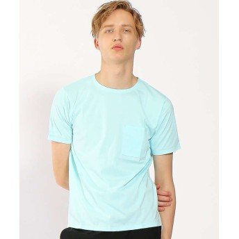 (ABAHOUSE/アバハウス)【WEB別注】圧着クルーネック ポケットTシャツ/メンズ サックス