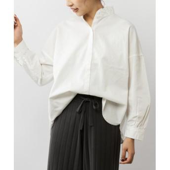 pual ce cin(ピュアルセシン) レディース 【cotton100%】フリル襟前アキブラウス ホワイト
