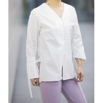 mona Belinda(モナ ベリンダ) レディース くるみ釦シャツ オフホワイト