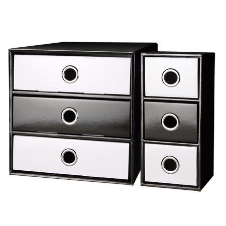 DIY環保紙質桌上收納盒三件組/黑白系列