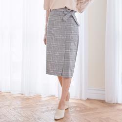 【Abbie】韓款復古高腰扣子綁帶格紋長裙
