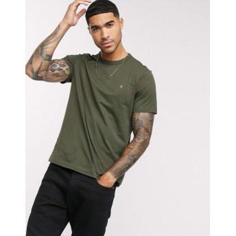 ファラー 半袖Tシャツ メンズ Farah Dennis slim fit t-shirt in khaki [並行輸入品]