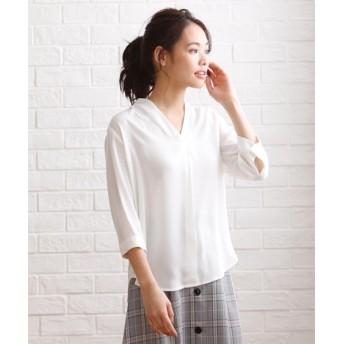ノーカラーブラウス (大きいサイズレディース) plus size shirts