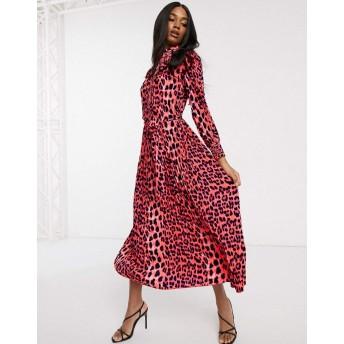 フォーエバーユニーク マキシドレス レディース Forever U Collection pleated midaxi dress in bright animal print [並行輸入品]