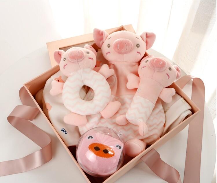 豬年限定版彌月禮盒純棉周歲禮盒 男寶女寶 滿月禮盒 嬰兒包屁衣初生滿月寶寶嬰幼兒裝 嬰兒帽