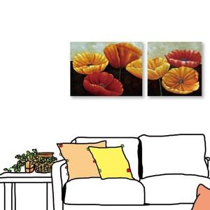 24mama掛畫 二聯式 花卉 無框畫 80x60cm+60x60cm