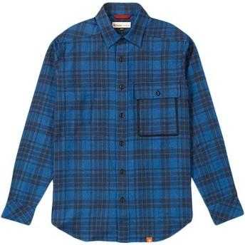 [フォックスファイヤー] TSツートンチェックシャツL/S 【吸汗速乾】 5112733 メンズ ブルー 日本 M (日本サイズM相当)