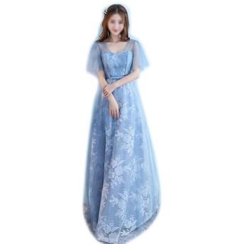 ノースリーブレースシフォンウェディング花嫁介添人ガウンウエディングドレスブルー女性 (Color : Blue-B, Size : M)