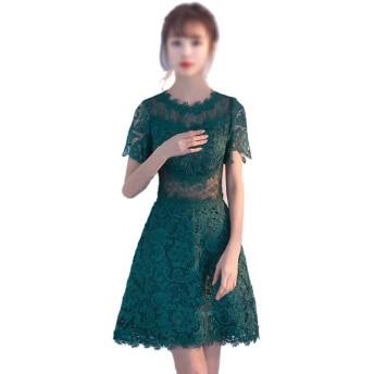 女性グリーンファッションラウンドネックフローラルレースセクシーなスリムプリンセスドレスのためのイブニングパーティーマキシドレス (Color : Green, Size : XL)