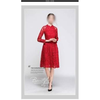 小さなスタンドカラー9ポイントスリーブ透かしレースステッチソリッドカラーの気質ロングドレス (Color : Red, Size : M)