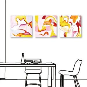 24mama掛畫 三聯式 藝術 抽象 無框畫 50x50cm-融合