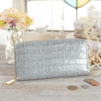 【永久無料保証】大人かわいい♪ エナメルクロコの型押し牛革 グレー ラウンドファスナー長財布