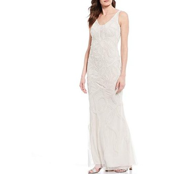 Adrianna Papell(アドリアナパぺル) トップス ワンピース Allover Beaded Plunging V-Neck Gown Ivory Pear レディース [並行輸入品]