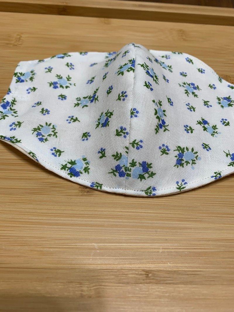 文青風環保進口雙層紗透氣布口罩套 春暖花開 白底藍