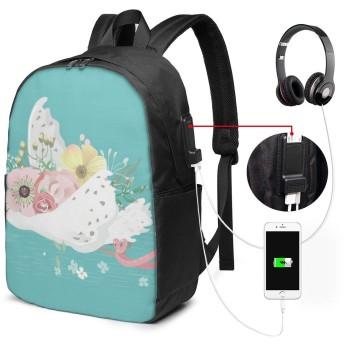白鳥 スワン リュック バックパック 大容量 PC リュックサック 軽量 メンズ レディース 兼用 多機能 バッグ 通勤 修学 学生 旅行 アウトドア USBポート&イヤホンポート搭載 鞄