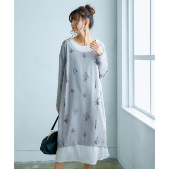 【ゆったりワンサイズ】1枚で時短!重ね着風タック使いプリントワンピース (ワンピース)Dress