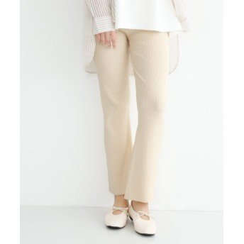 (merlot/メルロー)フレア裾リブニットパンツ/レディース アイボリー