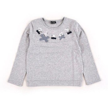 べべオンラインストア スムーススズラン刺繍Tシャツ レディース グレー 130cm 【BEBE ONLINE STORE】