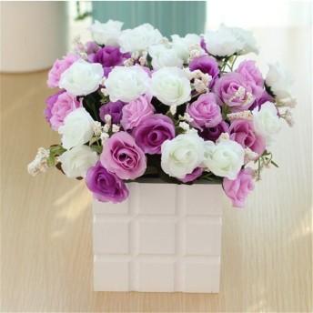 HUIfenghe 人工白+紫のバラのクリエイティブシミュレーションは、バラ家庭創造的な装飾と家具のミニマリストスタイルのシミュレーションを鉢植え