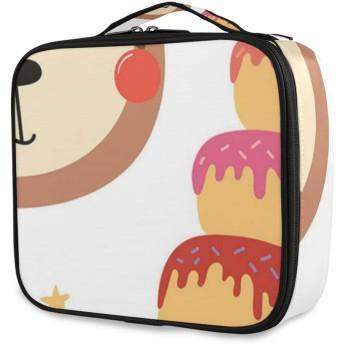 NR化粧ポーチトラベルポーチ大容量機能的トイレタリーバッグかわいい人気化粧道具トイレタリー収納袋、誕生日パーティードーナツケーキのろうそくは、かわいいナマケ、出張旅行用バス用品メイクボックス