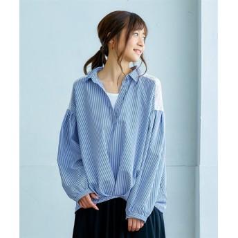 2点セット(バックレース裾タックシャツ+タンクトップ) (ブラウス)Blouses, Shirts