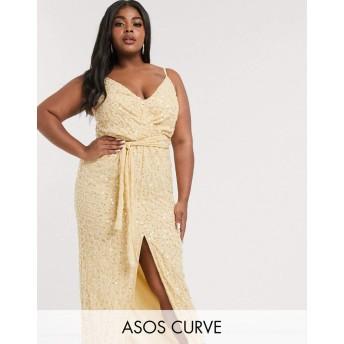 エイソス ドレス 大きいサイズ レディース ASOS DESIGN Curve embellished maxi dress with wrap waist detail [並行輸入品]
