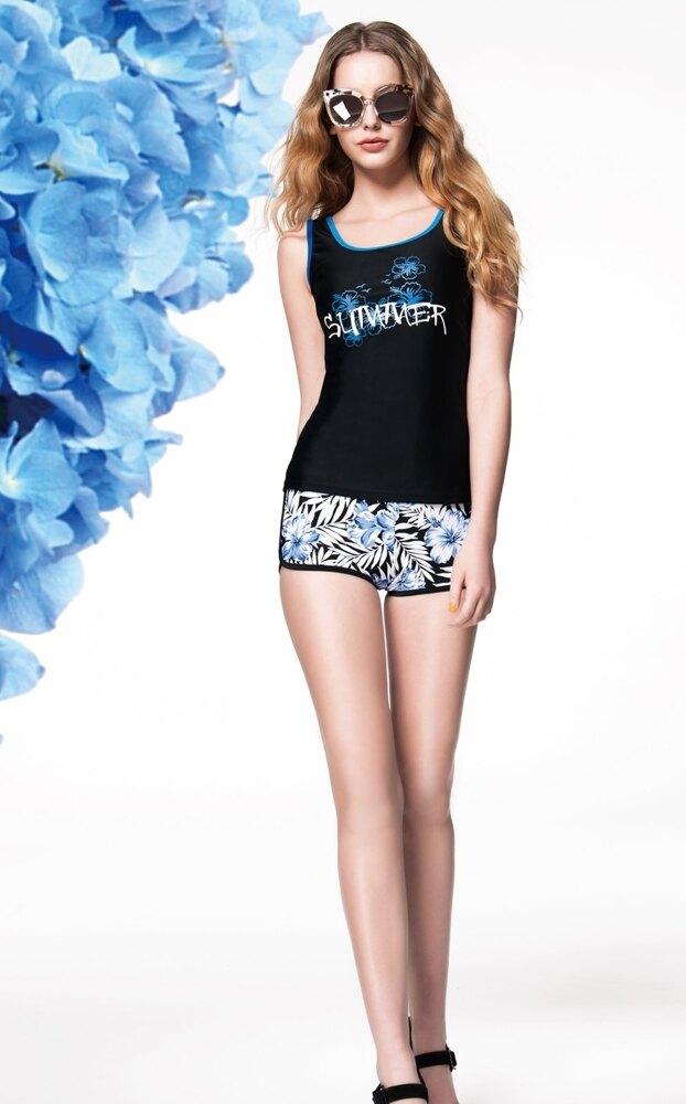 【 APPLE 】蘋果牌泳裝↘特賣~黑色搭花朵印花印字配全花平口褲二件式泳衣  附泳帽   NO.106406