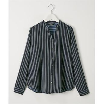 金ボタンストライプ柄バンドカラーシャツ (ブラウス)Blouses, Shirts