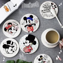 【收納王妃】迪士尼米奇旅遊世界系列 珪藻土吸水杯墊(2入一組)