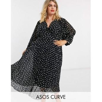 エイソス ドレス 大きいサイズ レディース ASOS DESIGN Curve pleated batwing midi dress in mono splodge print [並行輸入品]