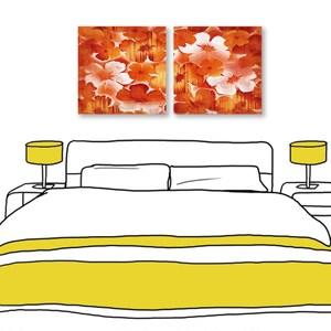 24mama掛畫 二聯式 紅色花卉 油畫風無框畫 60X60cm