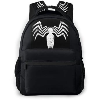 ヒーロー スパイダー ヴェノム Venom Logo 学校/スポーツバックパック、カジュアルなユニセックススタイルの大学の学校のバッグ/ラップトップバッグ男性用女性。