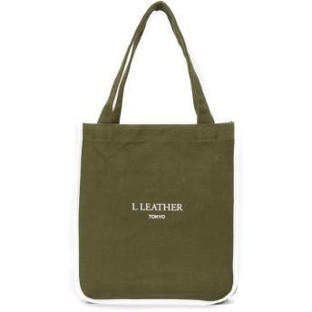 L LEATHER エルレザー CCLスリムトートバッグ トートバッグ,ホワイト/カーキ